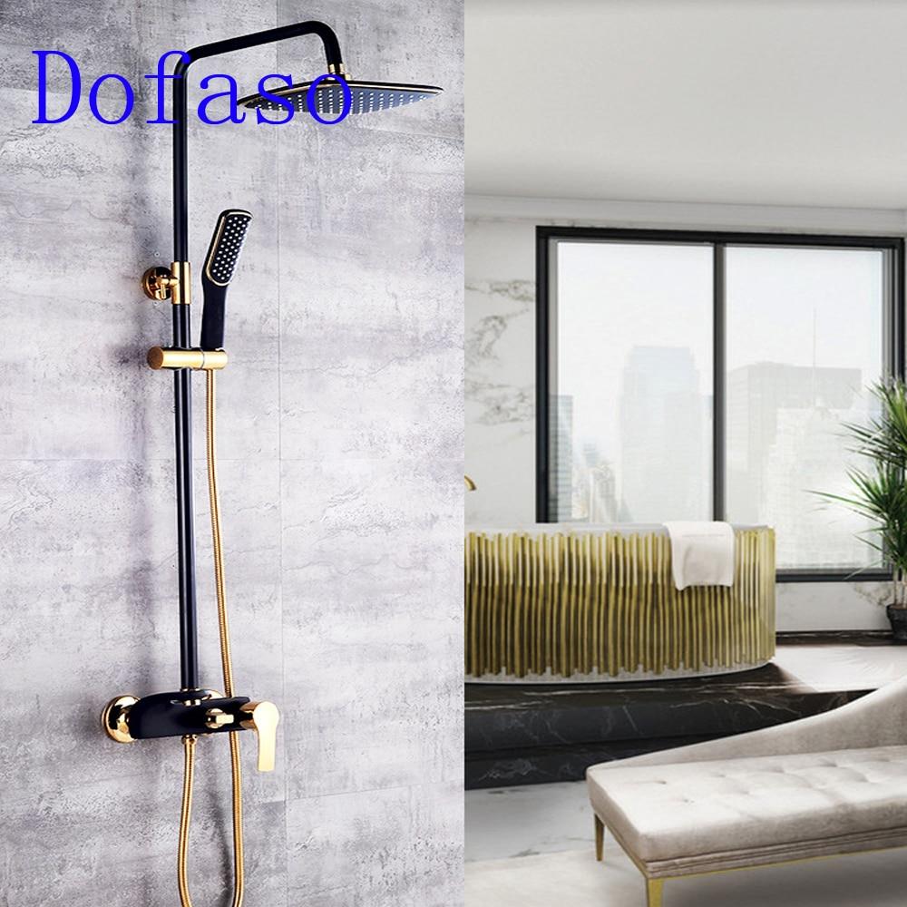 € 153.9 30% de réduction|Dofaso douche noir set robinet de luxe tout cuivre  blanc salle de bain douche bain mélangeur noir en laiton douche bain ...