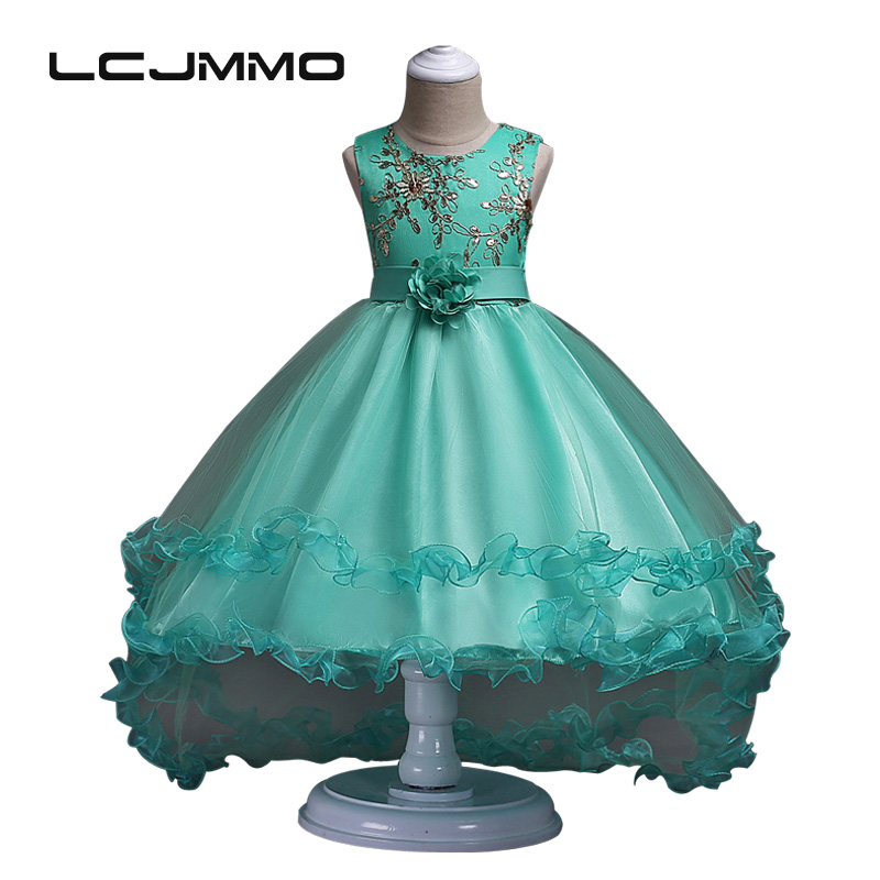 LCJMMO 2017 Wedding Party Girls Dress Tutu Princess Trailing Dresses Kids Catwalk Embroidered Dress Clothes For Children 3-11Y