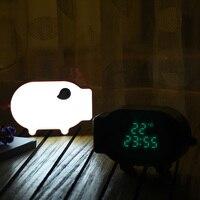 New Multifunction Cartoon Pig Alarm Clock Temperature Lamp Function USB Charge Clock for Bedroom NE