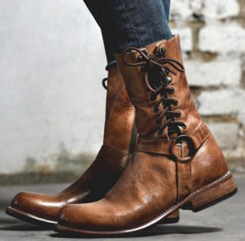 36910c4594bf8 En Zapatos Chaussure Dames Bottines Lacets Sapato Ab0097 À Chaussures Cuir  Mujer Mi Femmes Femme Vintage Matin Brown Pu Bottes mollet rr0vRq