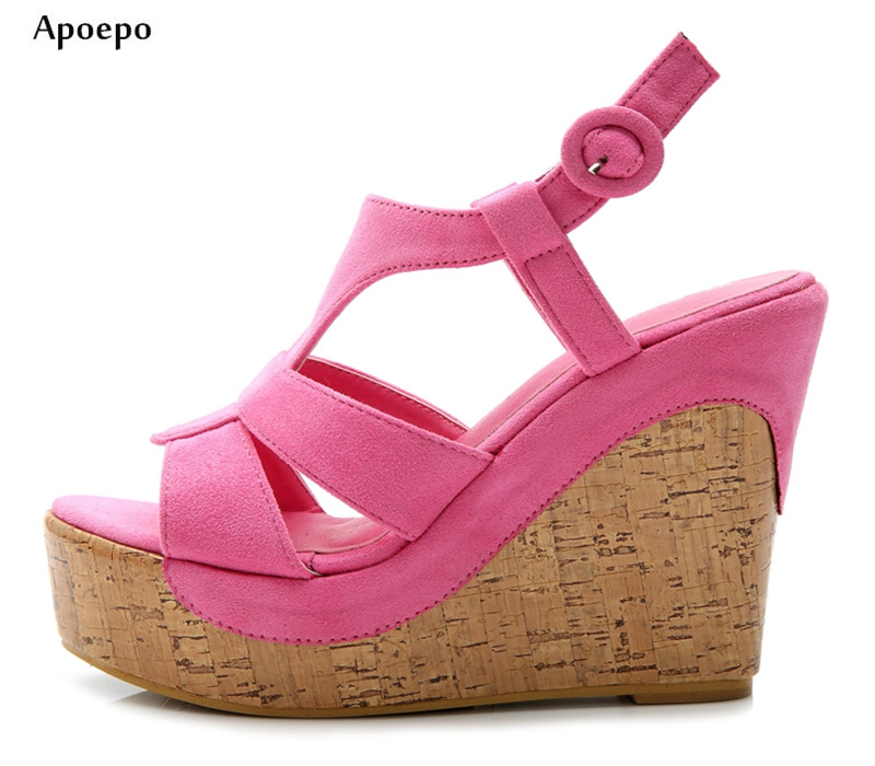 Apoepo 2018 Fashion Wedge Sandal for Woman Summer Sexy Open Toe Platform Shoes Buckle Strap Cutouts Sandal Pink Blue apoepo fashion patent leather wedge sandal for woman super high ankle strap platform shoes rope braided buckle strap summer shoe