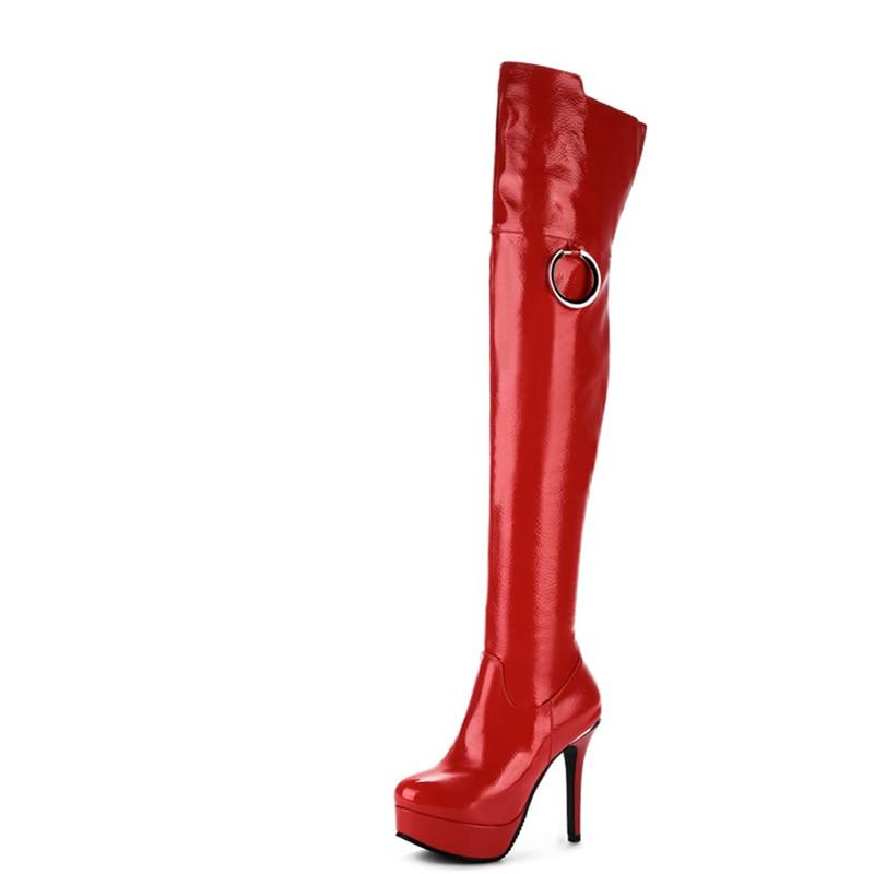 Plataforma Tacones Alta Fiesta rojo Enmayla Botas Apretado Mujer Altos Stiletto Los Zapatos blanco Invierno De Negro TBWWEp70
