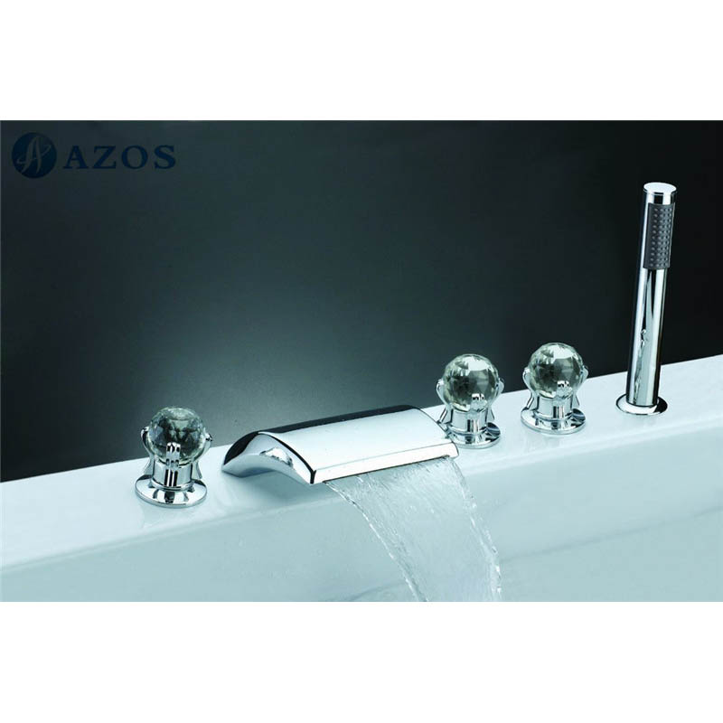 Deck Mounted Widespread Waterfall Bath Tub Sink Faucet Three Handles ...