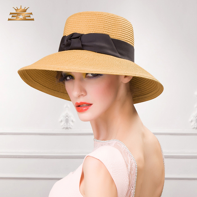 e3304dabdf440 Fashion Ladies Straw Hat Women Summer Beach Sun Cap Female Shading Wide  Brim Bow Hat Elegant