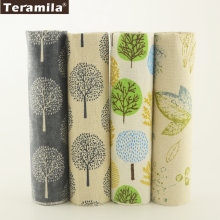 Teramila Cotton Linen Fabric 4 Muti-color Trees Designs Bundle Meter Patchwork DIY For Pillow Bag Cushion Curtain Tablecloth(China)