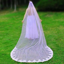 Real Photos 3 M Cathedral Long Wedding Veils with Comb One Layer White Ivory Tulle Bridal Veil Voile Mariage Velo real photos sparkly sequins lace 3 meters wedding veil with comb one layer 3 m white ivory bridal veil velo 2019