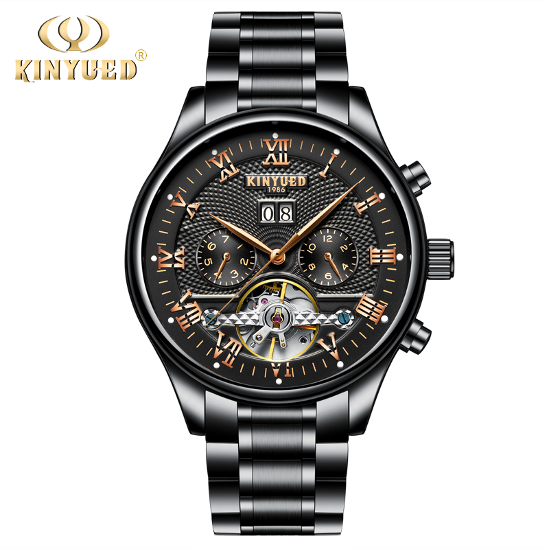 KINYUED Automatic 42mm Mens Watches Top Brand Luxury 2018 Tourbillon Gold Skeleton Men Watch Mechanical Business