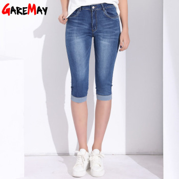 GAREMAY Plus Size Skinny Capris Jeans Women Female Stretch Knee Length Denim Shorts Jeans For Woman Pants With High Waist Summer plus size women in overalls
