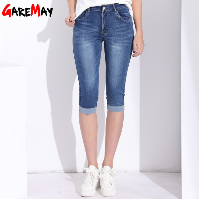 GAREMAY Plus Size Skinny Capris Jeans Woman Female Stretch Knee Length Denim Shorts Jeans Pants Women