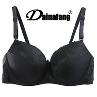 DAINAFANG BRAND Women Push Up Bra Sexy Deep V Embroidery Lace Decorative Lingerie High Cotton Ployester