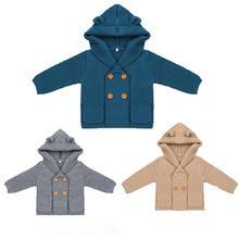 Вязаный кардиган для маленьких мальчиков; зимние однотонные свитера; пальто с капюшоном и длинными рукавами