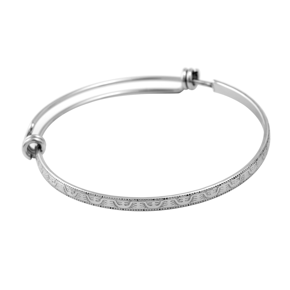 IJB0493 High Quality Pattern Stainless Steel Accessories DIY Beads Charms Adjustable Expandable Bangles Bracelets for Women/ Men