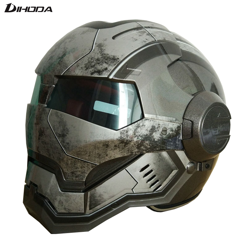 Masei Mens womens War Machine Gray IRONMAN Iron Man helmet motorcycle helmet half helmet open face helmet ABS casque motocross недорого