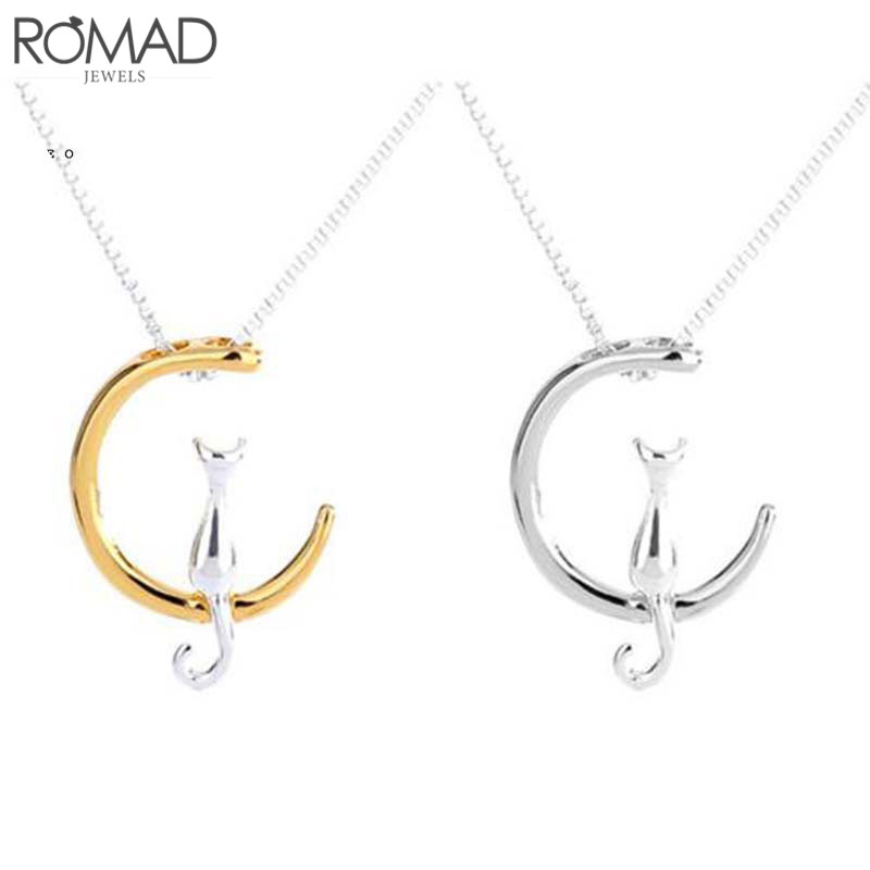 Gs Fashion Cat Moon Pendant Necklace Charm Silver Gold Color Link Chain Necklace For Pet Lucky Jewelry For Women Gift Kolye R4