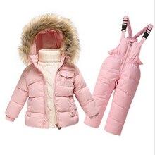 Winter Down Jackets For Girls Kids Snowsuit Children Clothes Warm Jacket Toddler Outerwear Coat+Pant Suits Set Jumpsuit Overalls