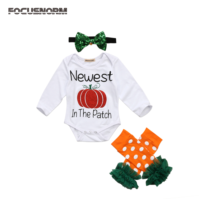 0 24m newborn baby girls halloween outfit long sleeve pumpkin romper orange dots leg warmers