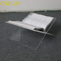 Flat Open Clear Acrylic Magazine Tray holder,Tabletop Lucite book stand