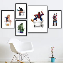 Captain America Hulk Batman Spiderman Wall Art Canvas Painting Nordic Posters And Prints Wall Pictures For Bathroom Toilet Decor(China)