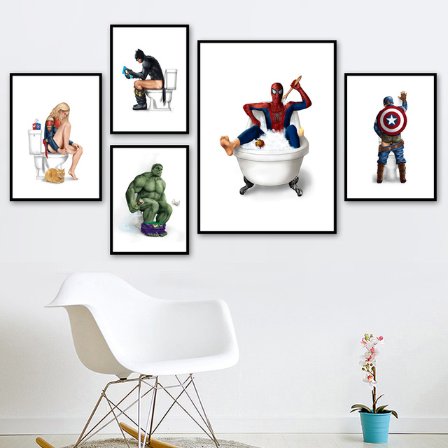 Captain America Hulk Batman Spiderman Wall Art Canvas Painting Nordic Posters And Prints Wall Pictures For Bathroom Toilet Decor