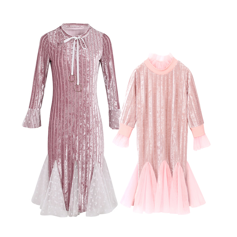 mother daughter Velvet dresses baby girls christmas elegant mermaid long dress family matching clothes mom and daughter outfits brand mother and baby clothing children clothes prints party family matching outfits mother girls dress mom and daughter dresses