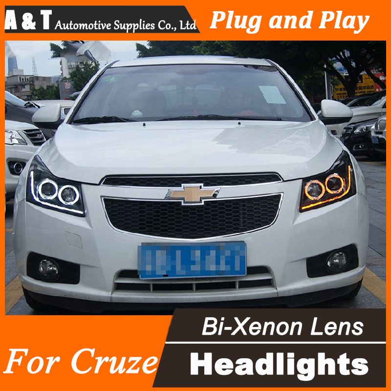 A&t car styling for chevrolet cruze led headlights signal angel eye drl lens double beam h7 hid xenon