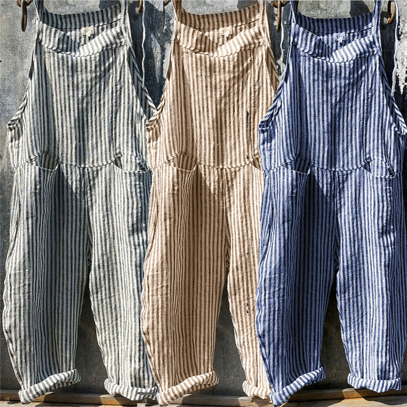 Summer Striped Loose   Rompers   For Women Dungarees Harem Strap Pants Loose Jumpsuit Baggy Trousers Overalls Pants