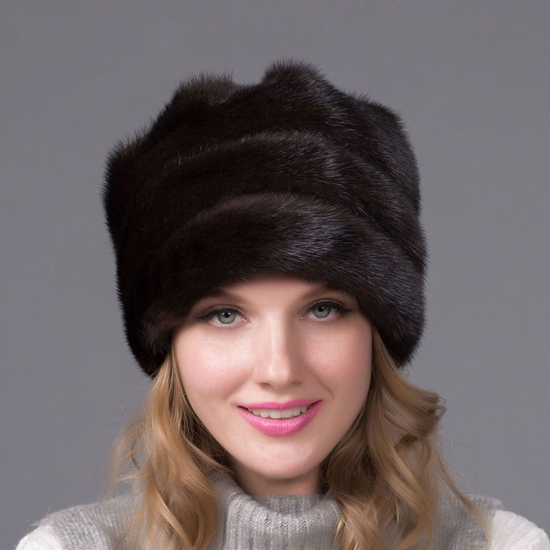 Real mink fur caps autumn and winter natural full fur hat quality multi color women's luxury fur hat DHY 47