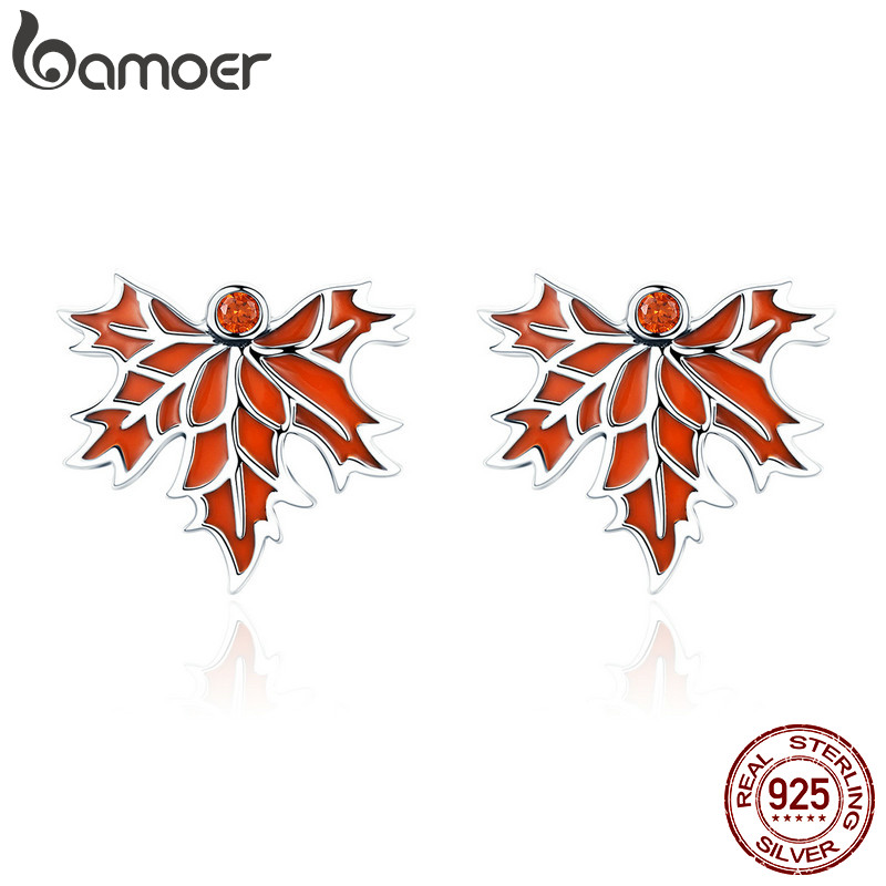 BAMOER 100% 925 Sterling Silver Autumn Maple Tree Leaves Stud Earrings for Women Luxury Silver Jewelry Valentine Day Gift SCE264 pair of chic rhinestone hollow out cube shape valentine s day gift earrings for women