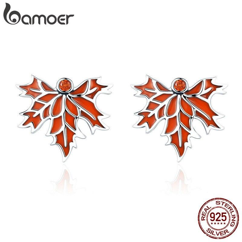 BAMOER 100% 925 Sterling Silver Autumn Maple Tree Leaves Stud Earrings for Women Luxury Silver Jewelry Valentine Day Gift SCE264 цена 2017