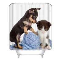 Decor Collection Row Of Hungry Dogs Cat Dog Wolf Panda Art Polyester Fabric Bathroom Shower