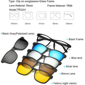 Image 4 - TR90 Clip On Sunglasses men Magnetic clip Sunglasses women Magnet Clip Optical Myopia glasses Frame with 5 sunglasses lens
