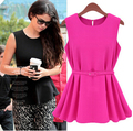 2016 New Womens Chiffon blouse Top Sleeveless Shirt Vogue Trend Blouse Shirt candy color Chiffon top
