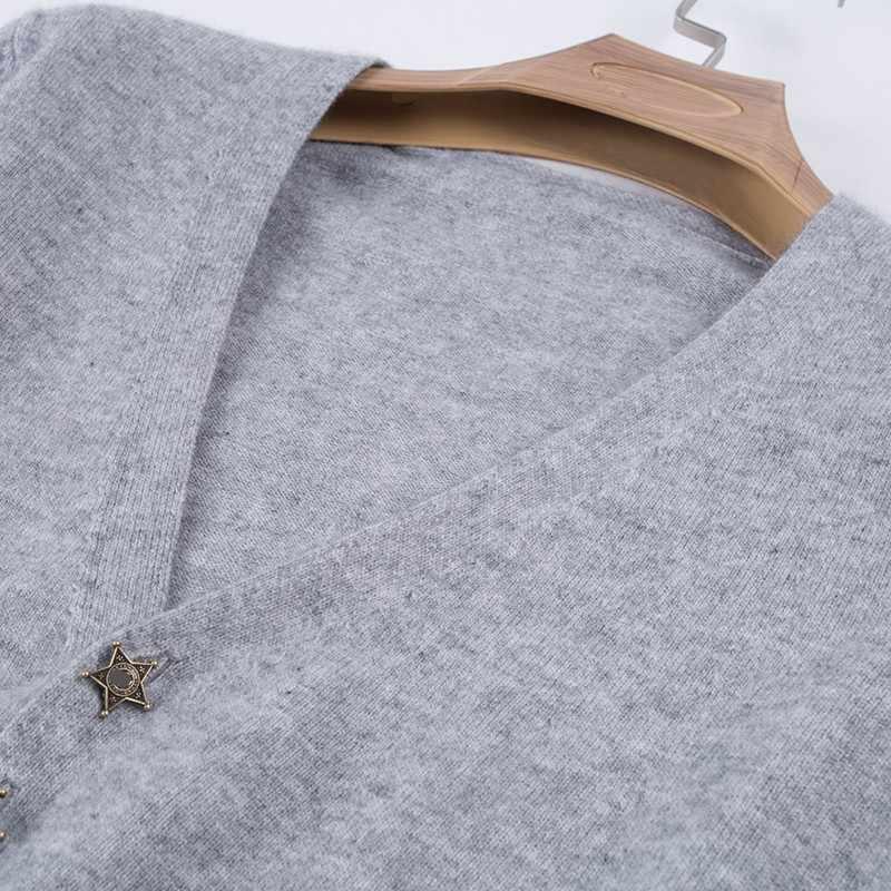 Bintang Gesper 100% Kasmir Kardigan Wanita Tipis Mantel Pendek Bagian Musim Gugur Leher V Kerah Lengan Panjang Sweater Perempuan Lebih Tahan Dr