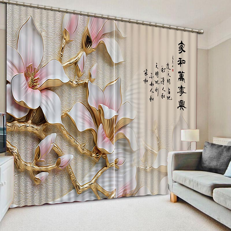 High Quality Golden Flowers 3D Printing Curtains Luxury Classic Lifelike Curtains full Shade Bedroom Living Room Curtains CL-052