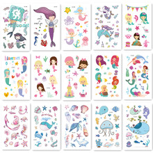 15Pcs/ New Cartoon Temporary Tattoo Mermaid Girl Princess Fake Tattoo Colorful Ocean Animals Flash Tatoo For kid Hand Body