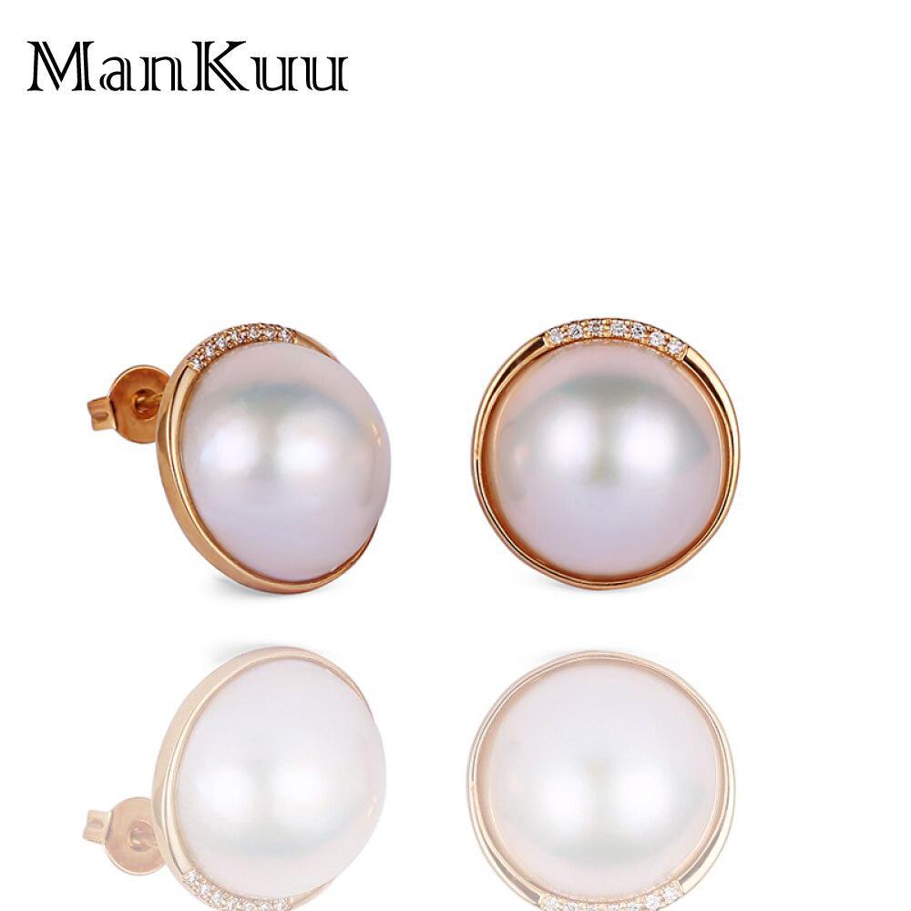 Boucles d'oreilles en perles d'eau douce naturelles rondes de 18mm, précieuses boucles d'oreilles en or 18 K pour femmes, boucles d'oreilles en diamant africain de 5mm