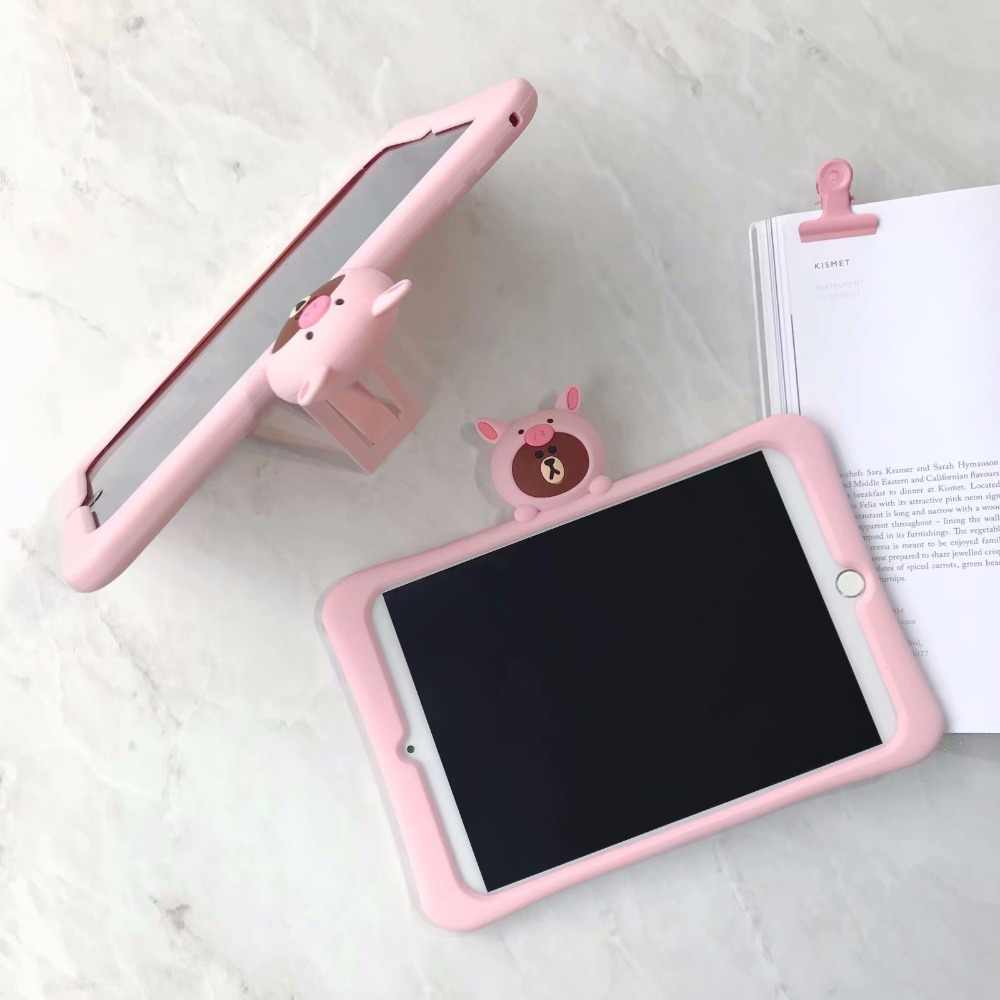 Leuke Roze varken beer Kids Case voor IPad 9.7 2018 2017 Pro 9.7 10.5 11 Air 2 3 iPad 2 /3/4 Mini 1 2 3 4 5 Silicon stand cover funda