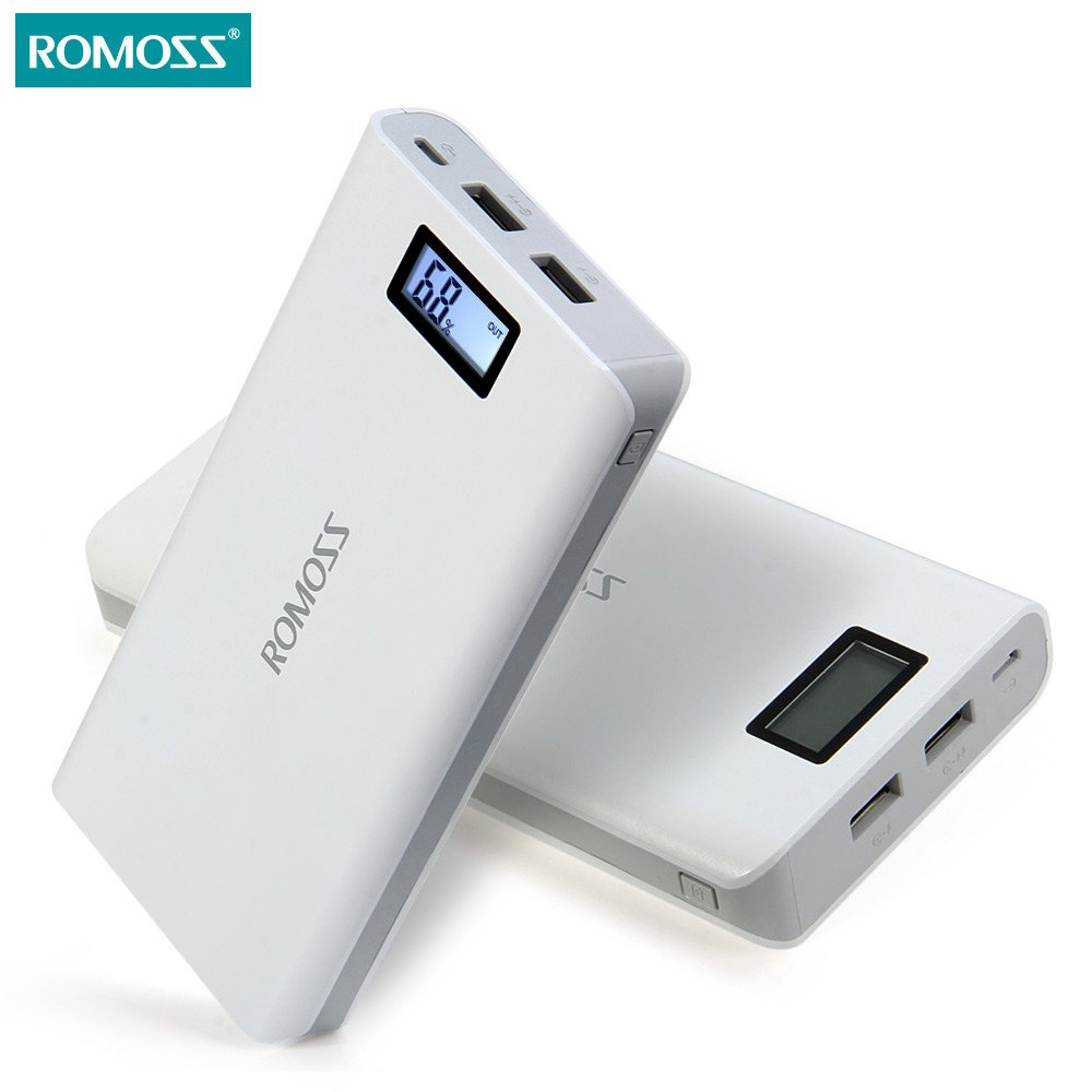 original 20000 mah romoss sense 6 6 plus lcd portable power bank charger external battery fast. Black Bedroom Furniture Sets. Home Design Ideas
