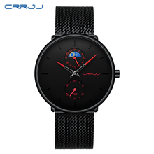 Relogio Masculino CRRJU Quartz Watch Men Casual Japan Black Watch Stainless Steel Ultra Thin 24-hour Display Male Clock 2019 New top brand luxury watch men casual black blue pointer japan quartz watch stainless steel face ultra thin clock male relogio new