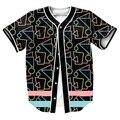80 s Barras Jersey con botones 3d overshirt camisa camisa de Los Hombres de camisa Casual Streetwear camisa overshirt