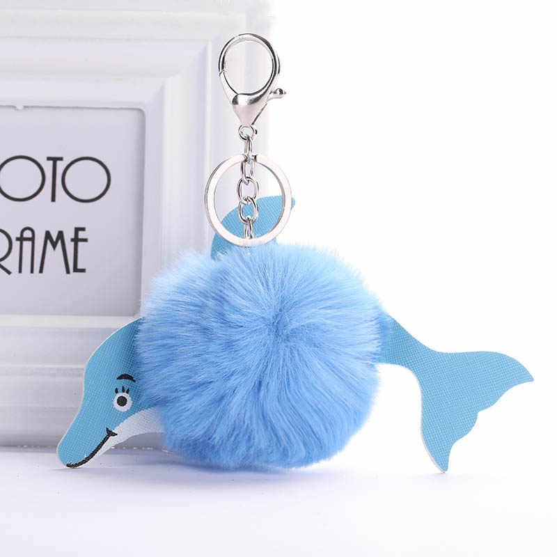 Bonito New Fluffy Dolphin Chaveiro Bola Pompom de Pele de Coelho Artificial Saco de Mulheres Da Cadeia Chave Do Carro Chave Acessórios Anel de Presente