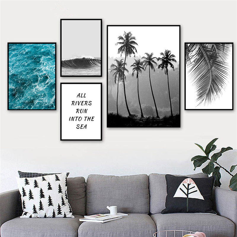 Palm Tree Seascape Art Canvas Painting Nordic Print And Poster Decoration Wall Picture For Living Room Home Decor Unframed AL141