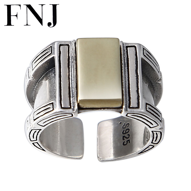 FNJ Punk bague 925 bijoux en argent nouvelle mode S925 Sterling Thail bagues en argent pour hommes taille réglable 8-11 bague