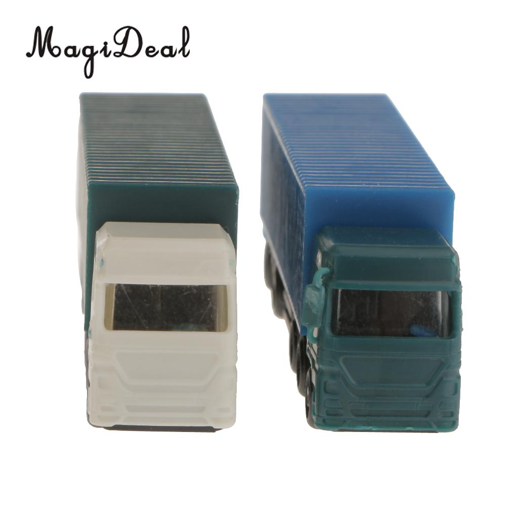 MagiDeal 2Pcs 1/150 Scale Plastic Painted Model Container Truck Figure Building Street Railway Scenery Layout for Children Toy