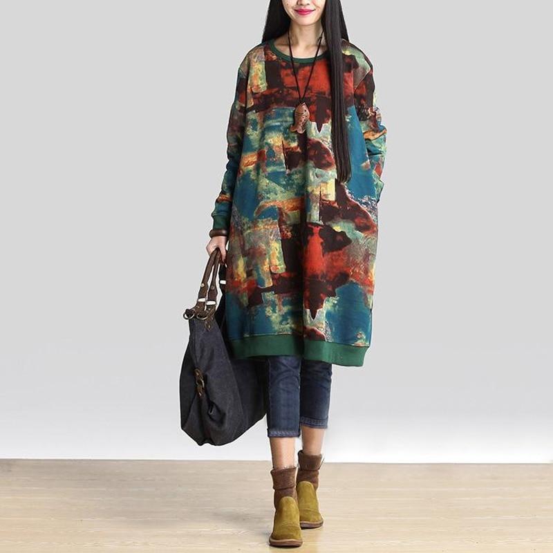 0bcfad3ee8cdc Celmia Women Winter Vintage Dress 2018 Autumn Long Sleeve Casual Loose  Pockets Print Long Vestidos Robe
