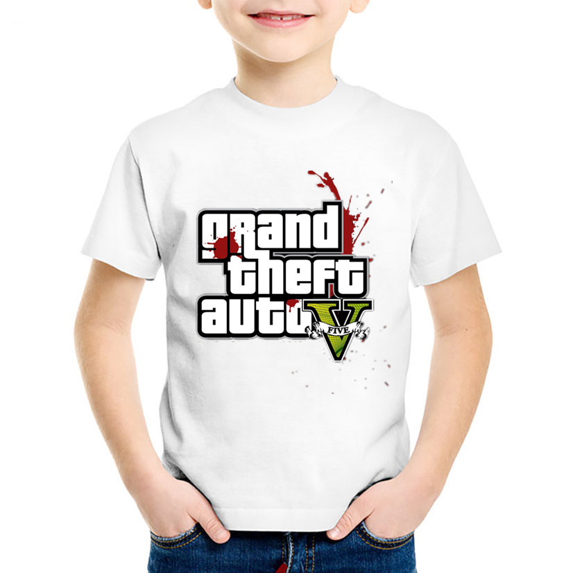 Grand Theft Auto GTA Game Logo Printed Children Fashion T shirts Kids Summer T shirt Boys/Girls Casual Tops Baby Clothes,HKP341