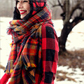 M822 autumn and winter thick female British European and American big Fan children retro red plaid long scarf cashmere shawl