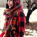 M822 otoño e invierno gruesa femenina Británica de Europa y américa Fan niños retro rojo de la tela escocesa larga bufanda chal de cachemira