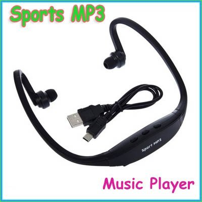 Free Shipping!!!New arrival Green/Red/Black/Blue Sport MP3 Headphone Music Player Handsfree 5pcs/lot