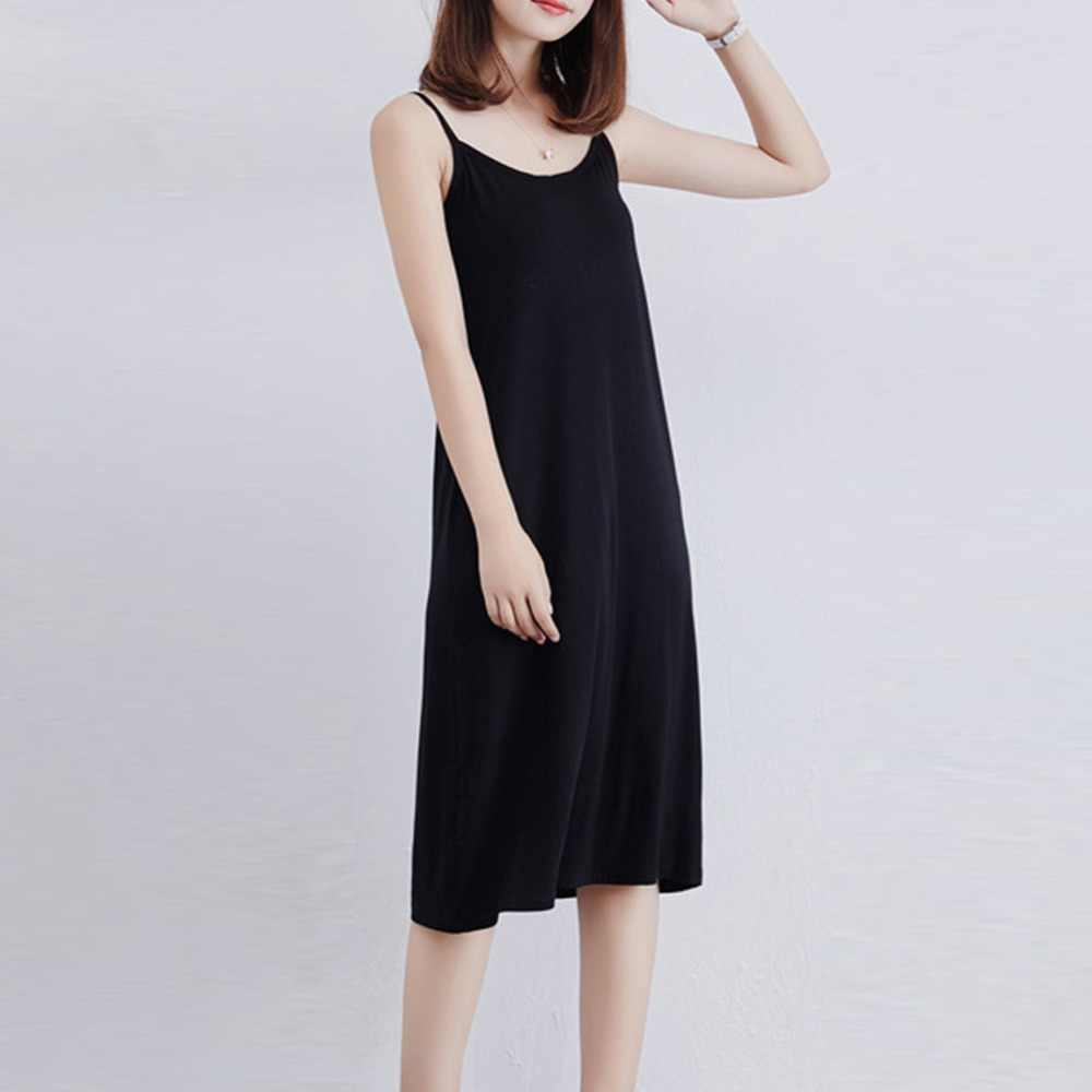 96b2eb9018e ... 2018 Women Sexy Strap Full Slips Dress Modal Long Underdress Sleeveless Plus  Size Cotton Bottoming Straight ...